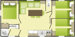 Plan : Mobil-Home Grand Confort LAVANDE 31m² 3ch. - 6pers.