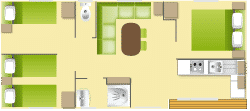 Plan : Mobil-Home Privilège ARGENT 35m² 3ch. - 6pers. - CLIM – LV