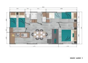 Plan : Mobil-Home Privilège OR 34m² 3ch. - 6pers. - CLIM
