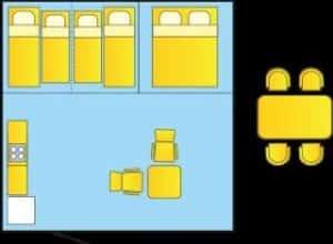 Plan : Tente meublée trois chambres sans sanitaire